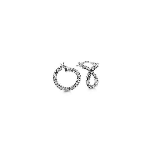 10kt White Gold Twist Hoops with Austrian Crystals