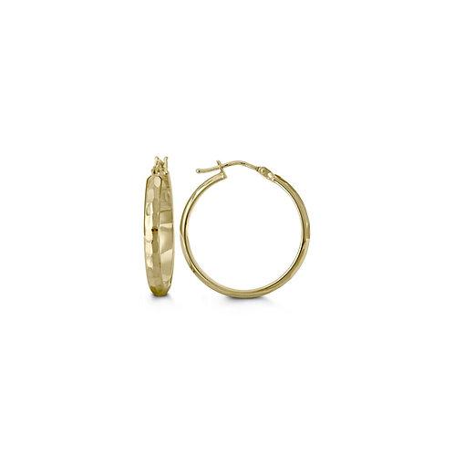 10kt Gold, Diamond-Cut Hoop Earrings