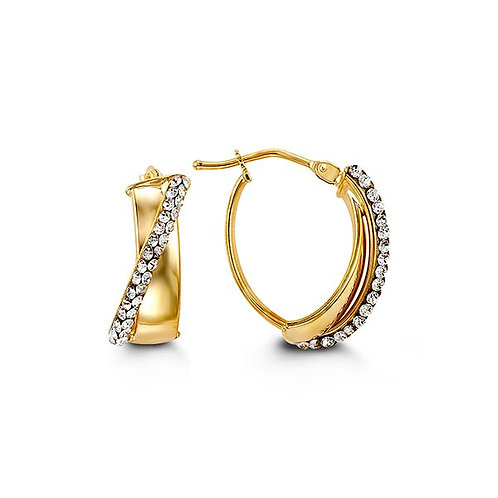 10k Gold Oval-Shape Hoops with Austrian Crystals