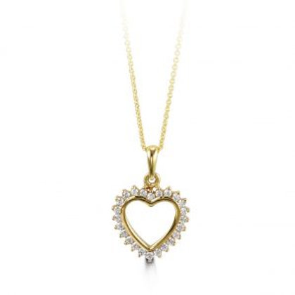 10kt Gold Heart Pendant with CZs and Chain