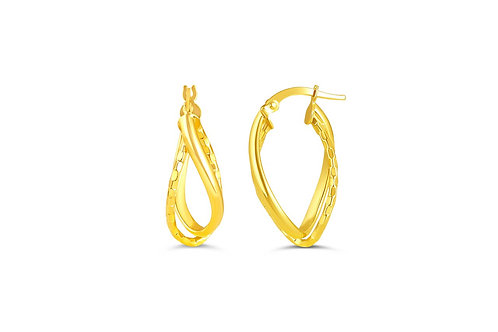 10kt Gold Twist Hoop Earrings With Diamond-Cuts