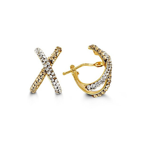 """10kt Gold """"Kisses"""" Hoop Earrings with Austrian Crystals"""