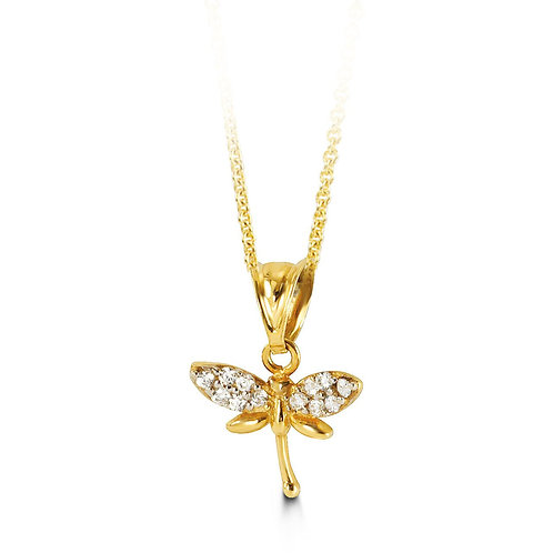 10kt Gold CZ Dragonfly Pendant with Chain