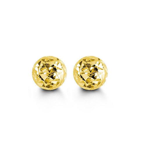 10kt Diamond-Cut Ball Stud Earrings 5mm