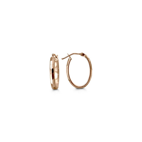 10kt Rose Gold, Diamond-Cut Hoop Earrings