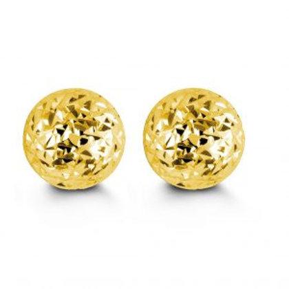10kt Diamond-Cut Ball Stud Earrings 8mm