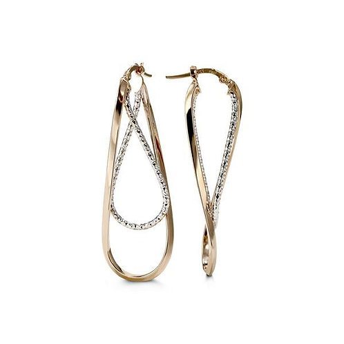 10kt Two-Tone Gold, Twisted Earrings
