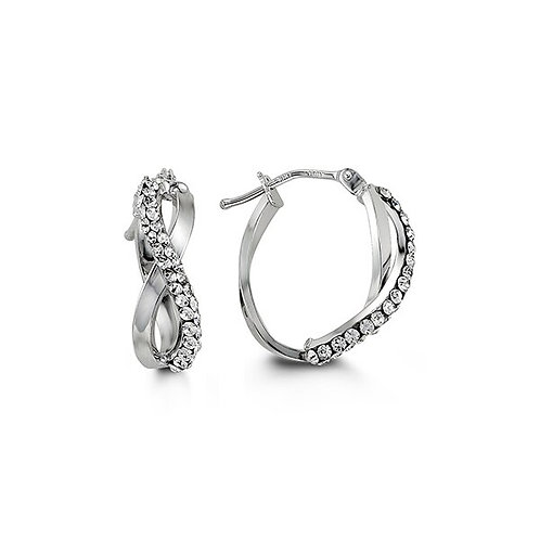 10kt White Gold Infinity-Shape Hoops with Austrian Crystals