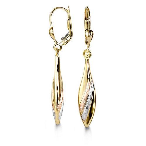 10kt Tri-Colour Gold, Tear-Shape Drop Earrings