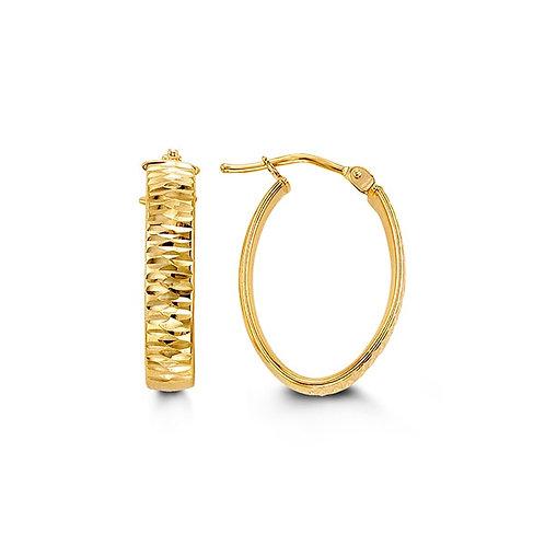 10k Gold Diamond-Cut, Oval-Shape Hoops