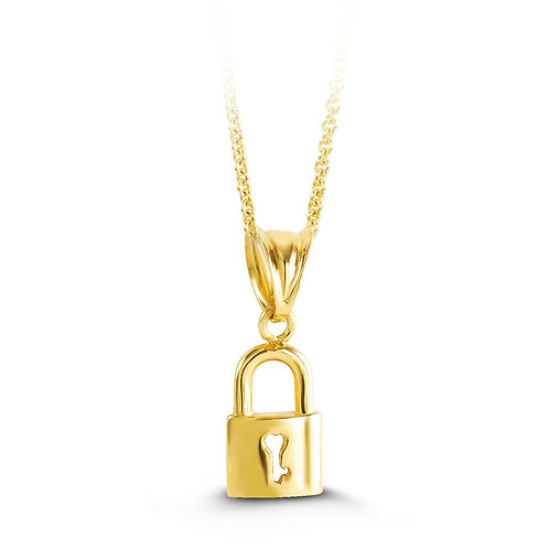 10kt Gold Padlock Pendant with Chain