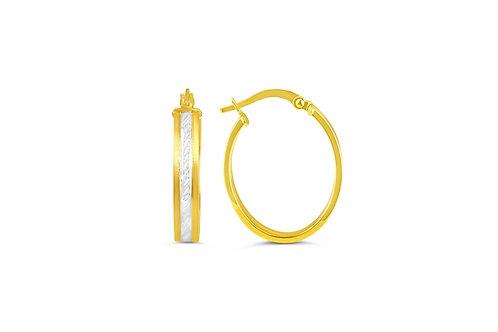 10kt Two-Tone Gold, Diamond-Cut Hoop Earrings