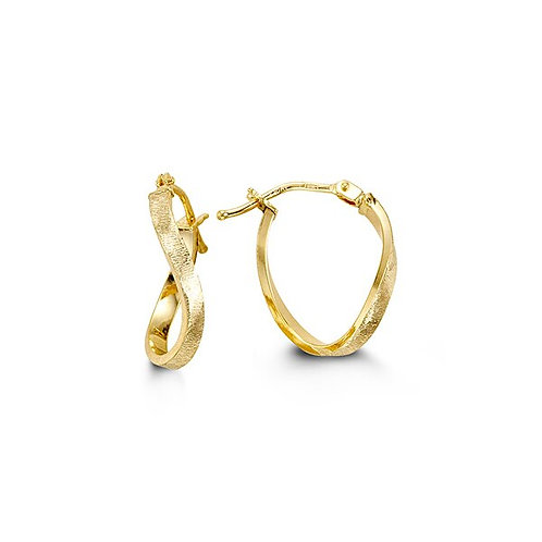 10kt Gold Twist Hoop Earrings With Brushed Finish