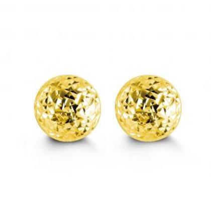 10kt Diamond-Cut Ball Stud Earrings 7mm