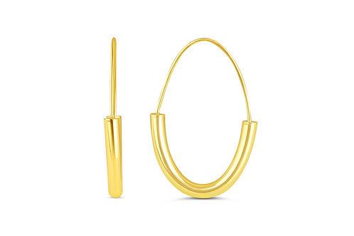 10kt Gold Oval-Shape Hoop Earrings