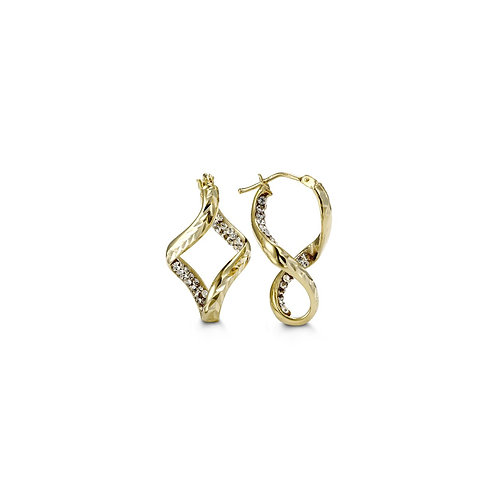 10k Gold Twist Hoops with Austrian Crystals