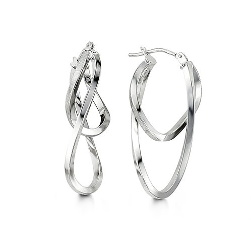 10kt White Gold Twisted Double Hoop Earrings