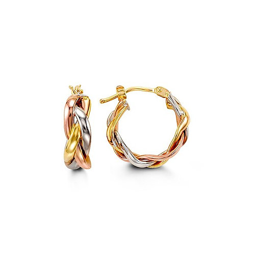 10kt Tri-Colour Gold, Twisted Earrings