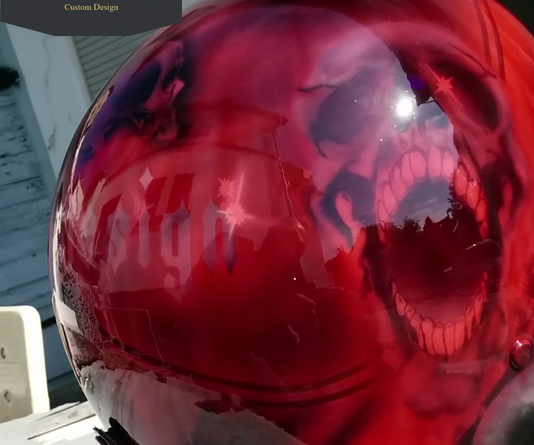 Custom Helm Createx Colours - Blood Red  High Gloss Clear Coat