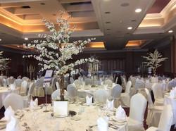 White Cherry Blossom Reception Table Centre Piece 10
