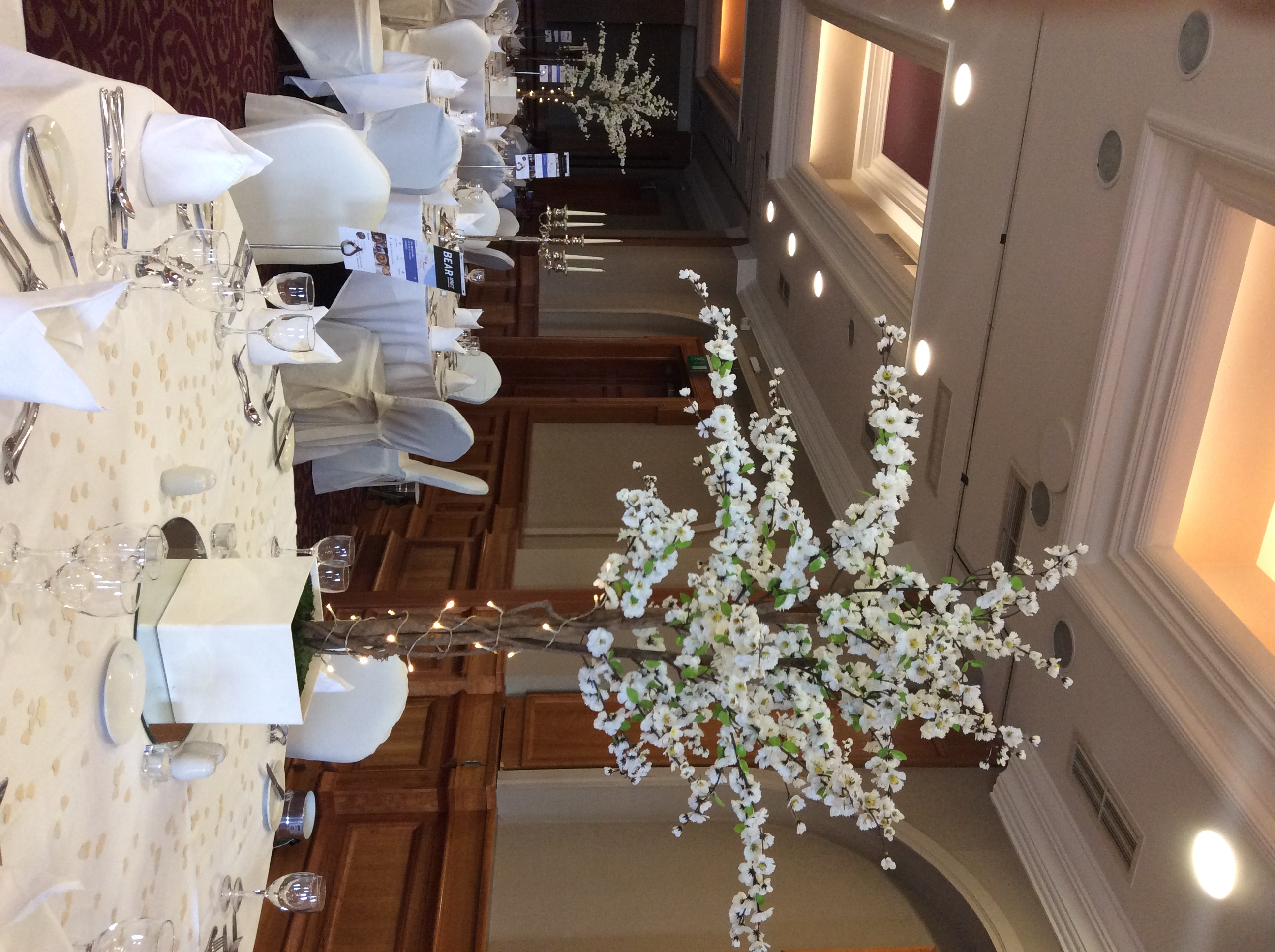 White Cherry Blossom Reception Table Centre Piece 11