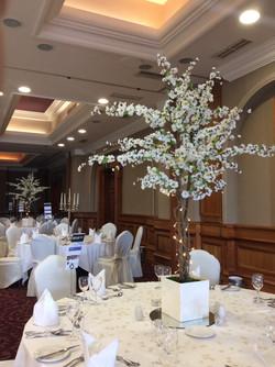 White Cherry Blossom Reception Table Centre Piece 11
