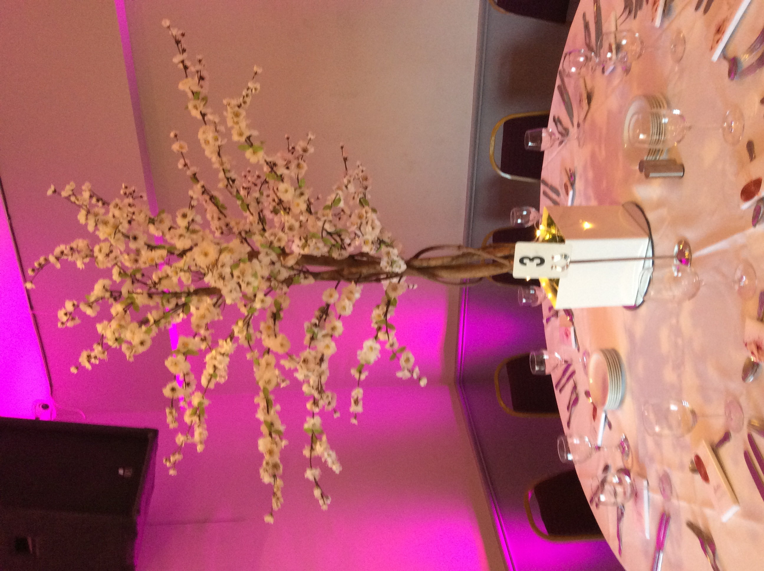 White Cherry Blossom Reception Table Centre Piece 3