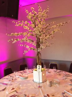 White Cherry Blossom Reception Table Centre Piece 3