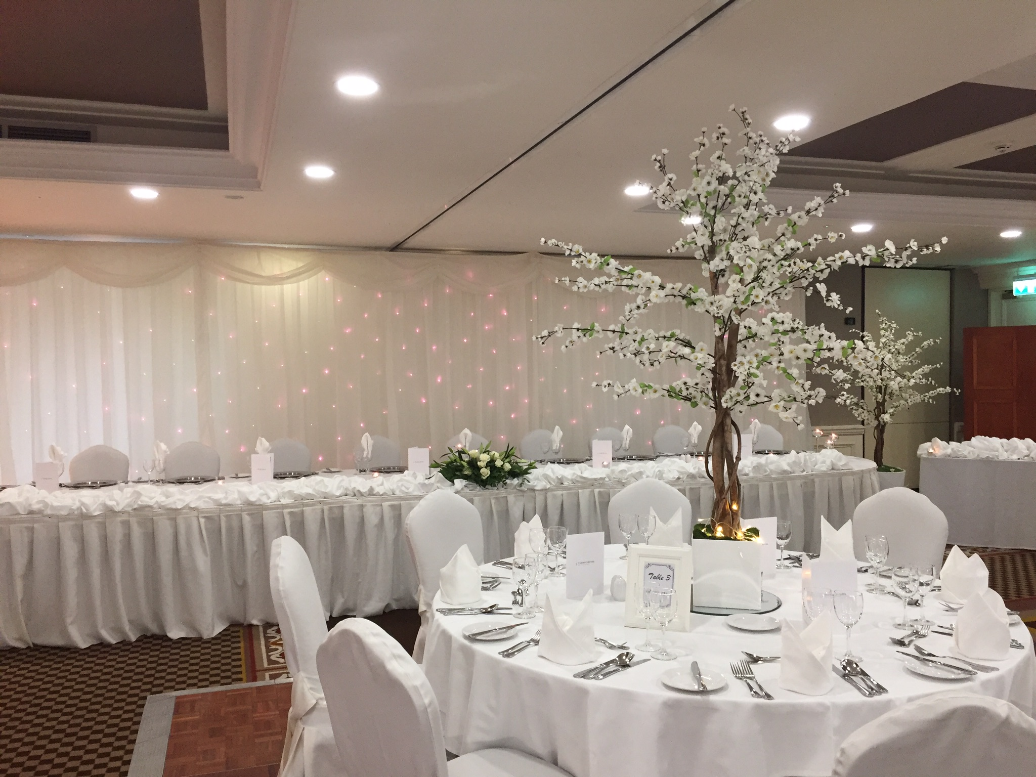White Cherry Blossom Reception Table Centre Piece 6