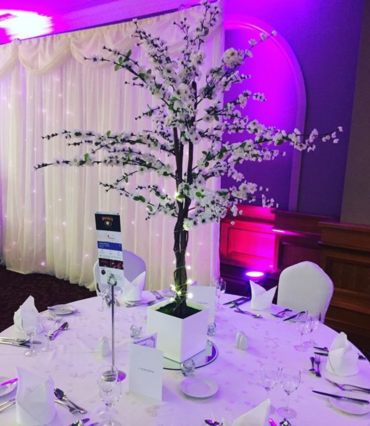 White Cherry Blossom Reception Table Centre Piece 14