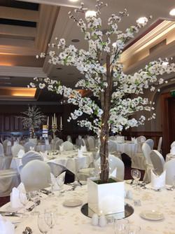White Cherry Blossom Reception Table Centre Piece 12