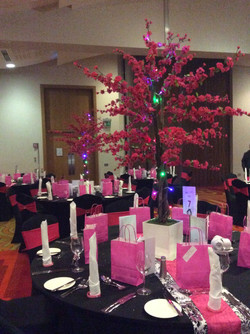 Red Cherry Blossom Reception Table Centre Piece