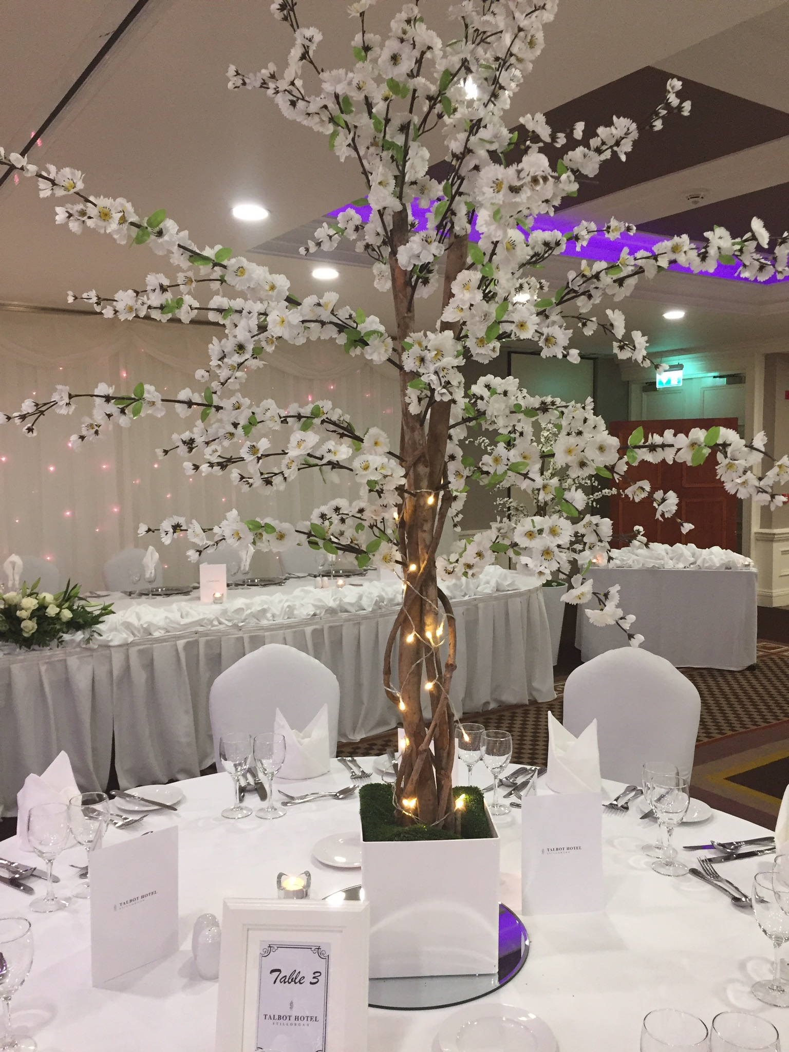 White Cherry Blossom Reception Table Centre Piece 7