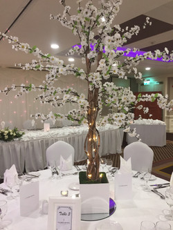 White Cherry Blossom Reception Table Centre Piece 7