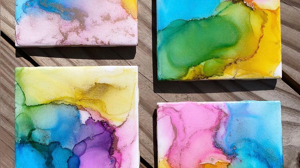 Chic Ink Coaster Set | Multi Color