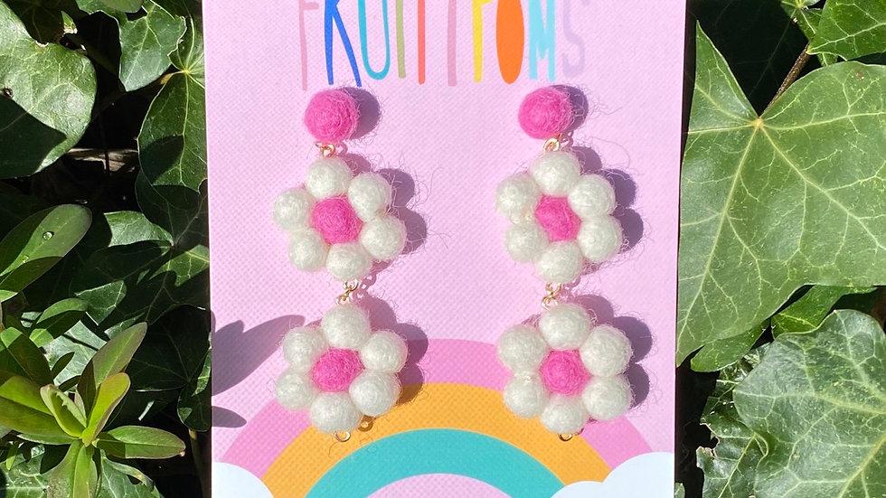 White/Pink Daisy Earrings