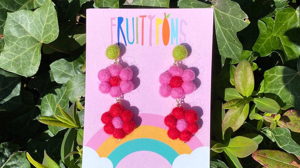 Red/Pink Daisy Earrings