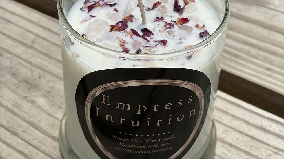 Crystal Infused Energy Candle   Rose