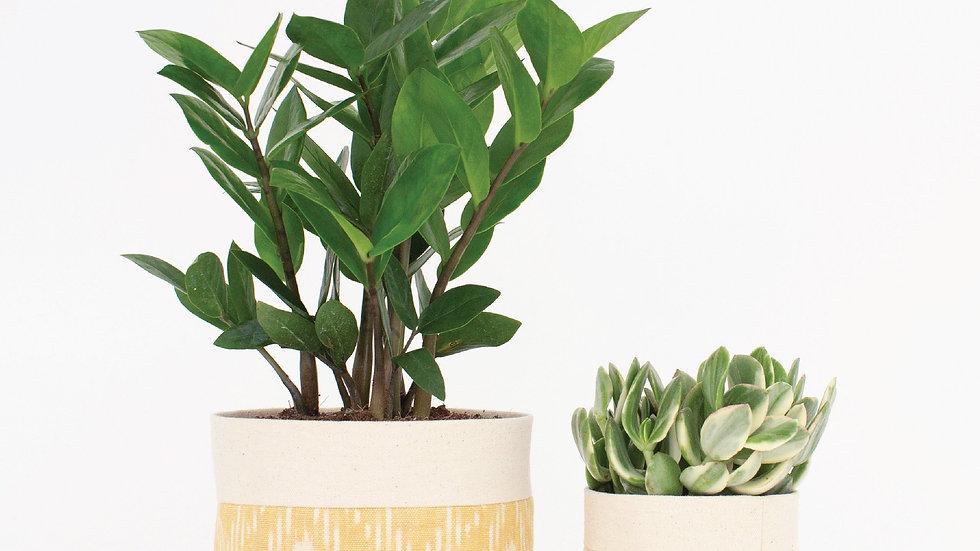 Natural Canvas Sitting Planter | Marigold Ikat