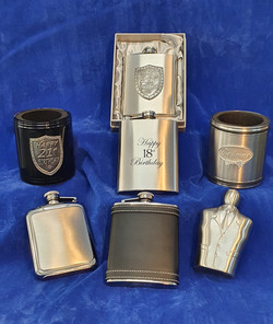 Stubby holder and hipflask pewter and stainless steel