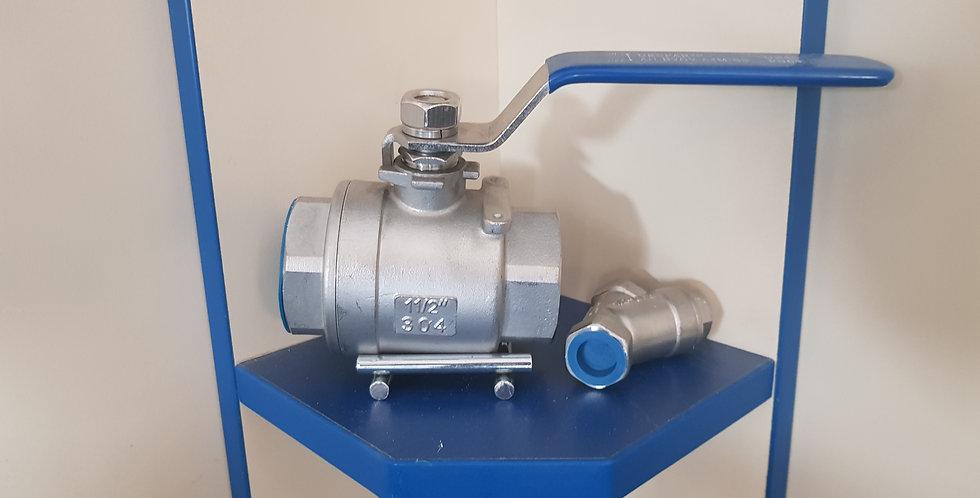 Кран шаровой двухсоставной муфтовый нержавеющий, Ду 50 / шар-нж сталь 304 / PTFE
