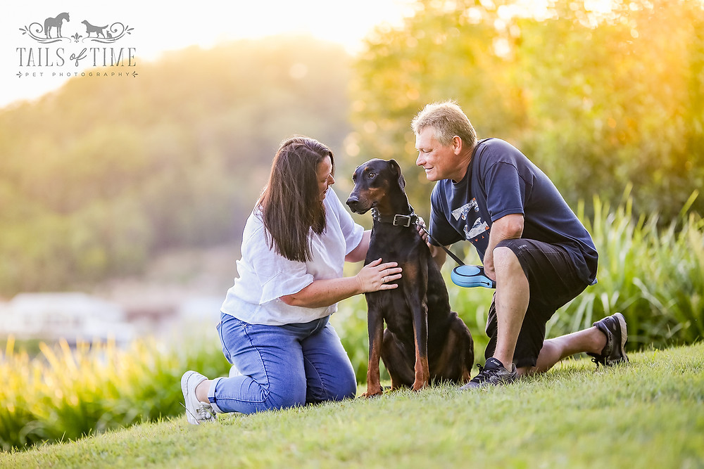 a couple and their dog in a sunlit park