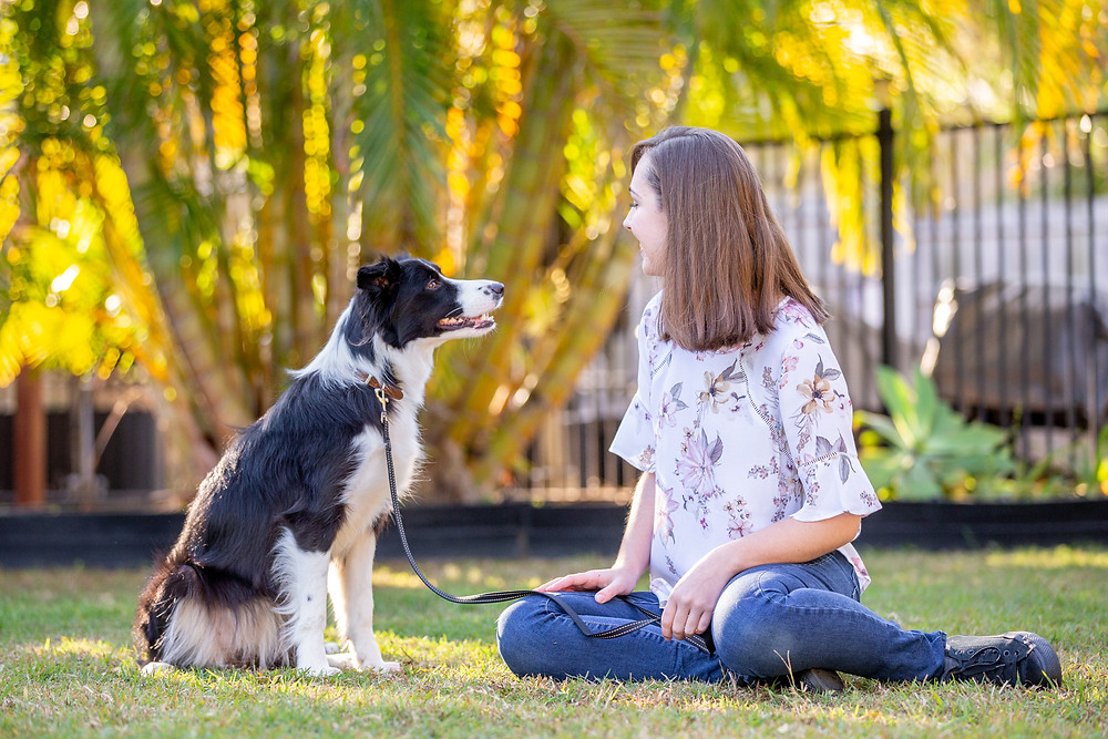 a young girl and her border collie in their backyard