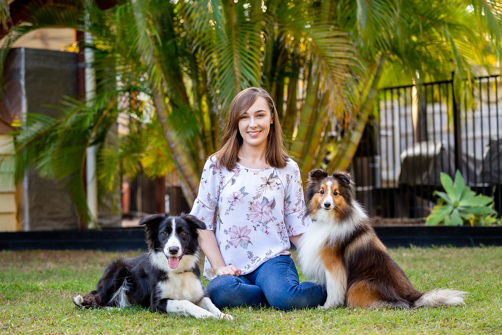 a girl and her dogs family portrait session brisbane