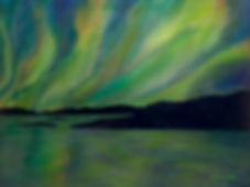 Northern Lights over water in Kawartha Lakes Painting