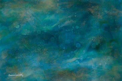 Abstract Water Turquoise Blue Gold Painting