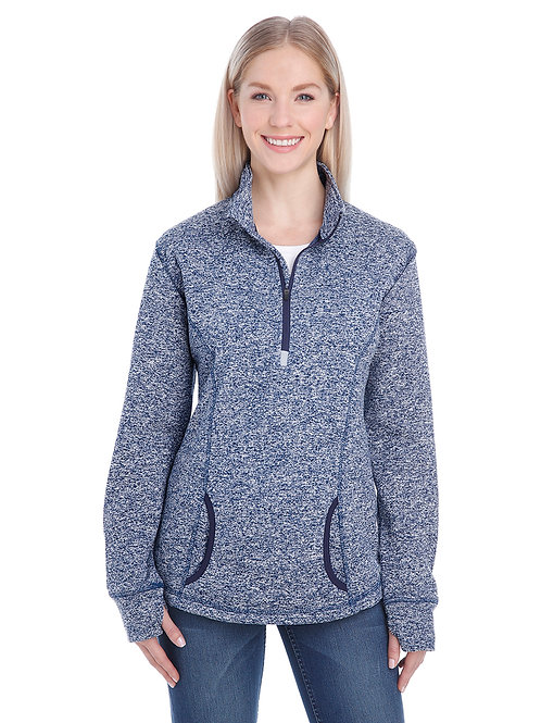 Adult Ladies Polyester Fleece 1/4 Zip Hood