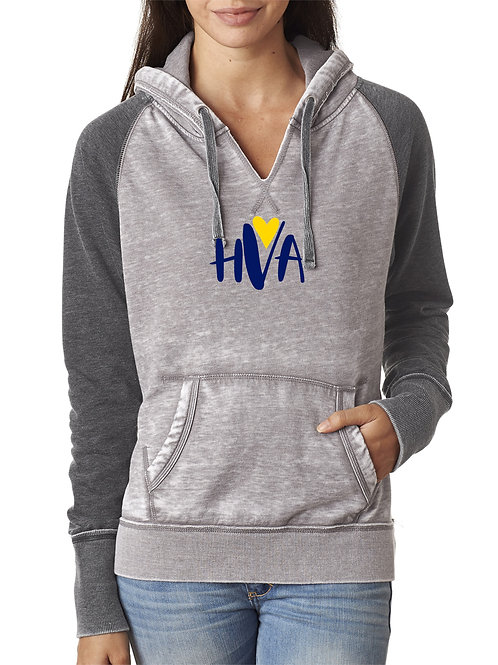 HVA Grey Two Toned Ladies V-Neck Hoodie