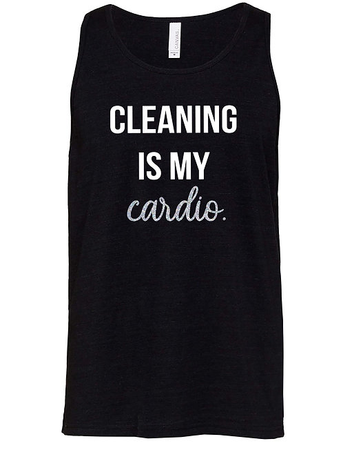 Heathered Black Cleaning is my Cardio Unisex Tank