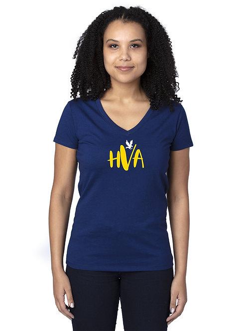 HVA Navy V-Neck LadiesTee